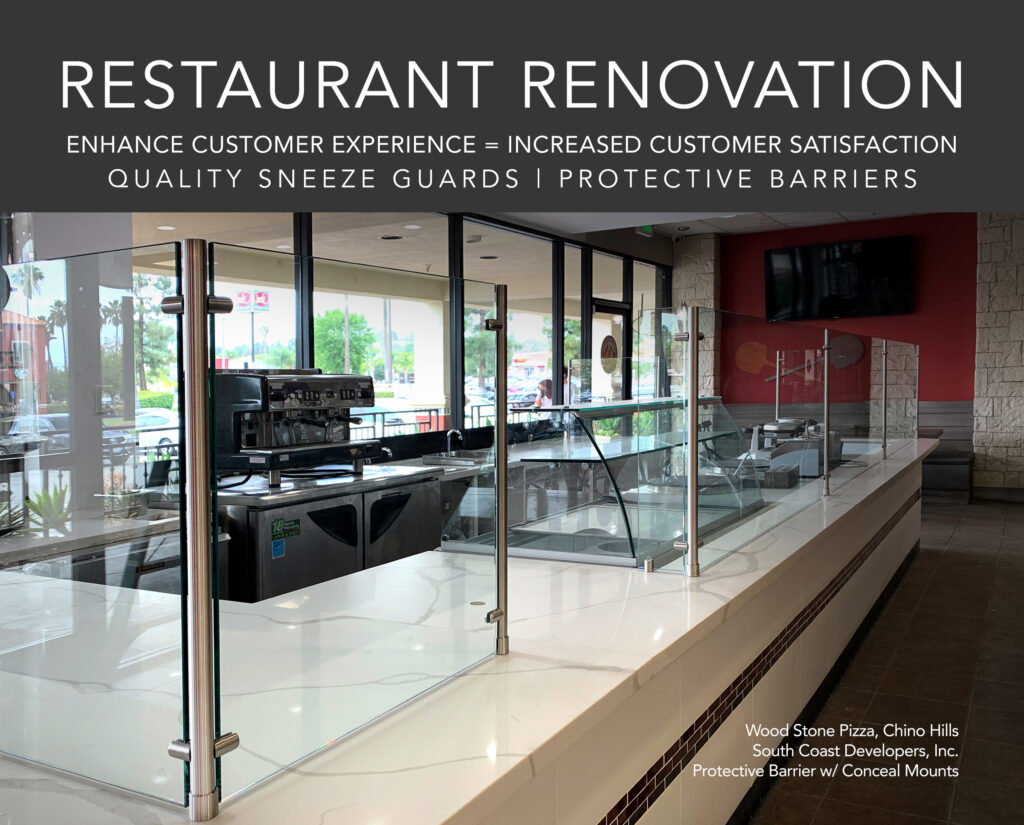 restaurant renovation, Quality Sneeze Guards and Protective Barriers